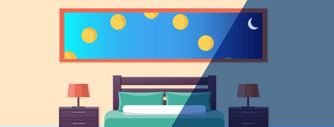 A bedroom with a window showing the sun in several stages throughout the day representing insomnia