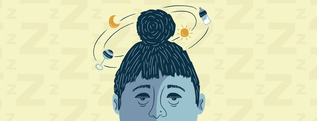 a tired looking woman with insomnia who has a sun, a moon, a baby rattle, and a baby bottle swirling around her head