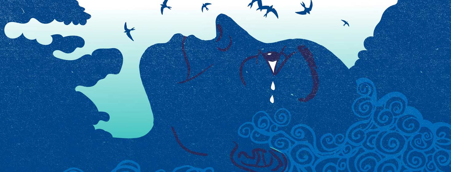 a profile of a woman with insomnia at dawn, tears flow from her eyes and birds fly above her