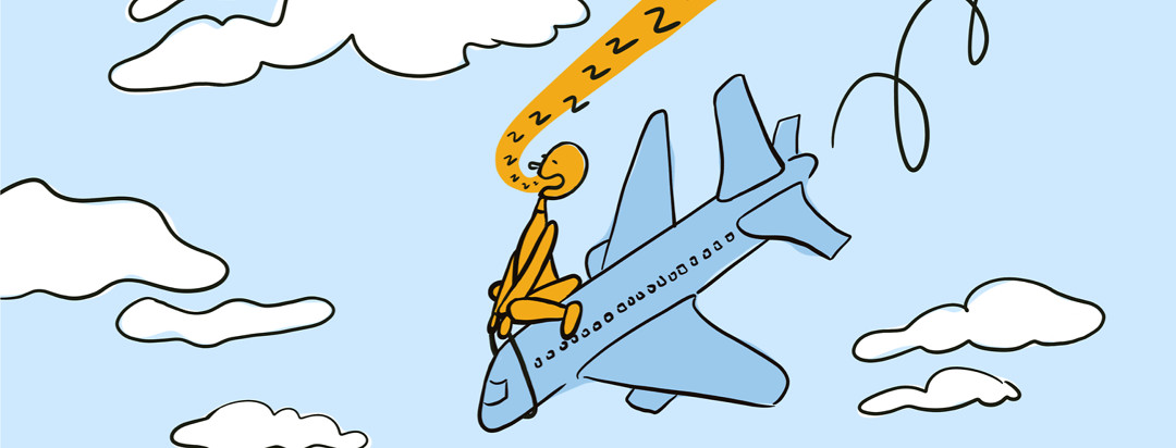 Person with insomnia asleep riding on top of an airplane that is falling down from the sky
