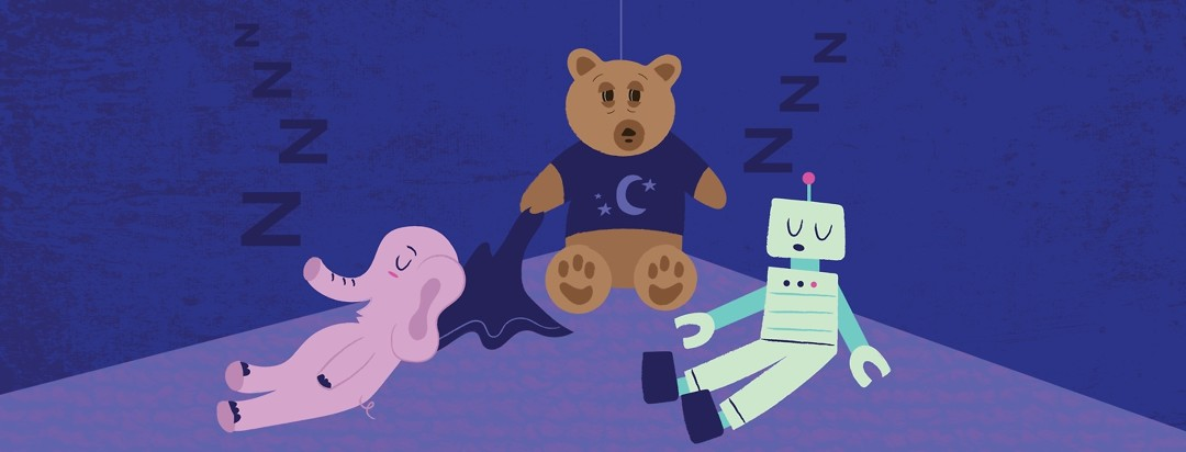 three toys in a dark room, a robot and an elephant fast asleep and a teddy bear with insomnia awake with droopy eyes