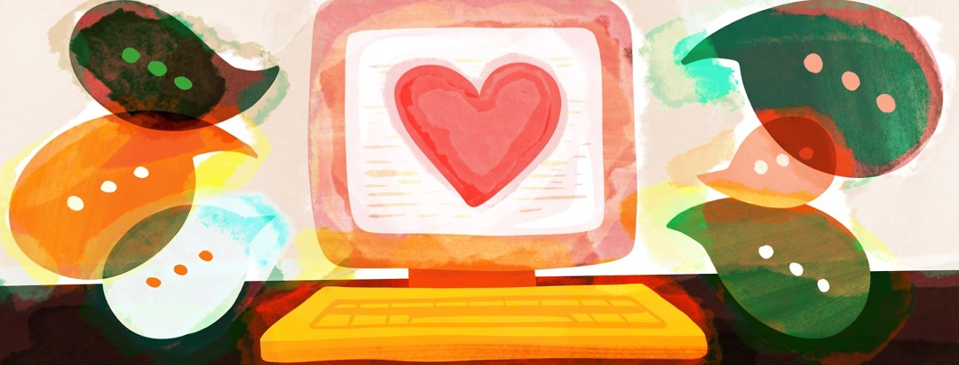 A computer screen shows a large heart while dialogue bubbles are sprouting from the screen, showing online community for people with insomnia