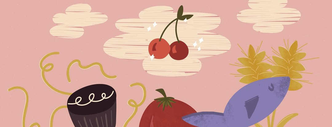 cherries sparkling in the clouds hovering above noodles, cake, fish, grain, and a tomato