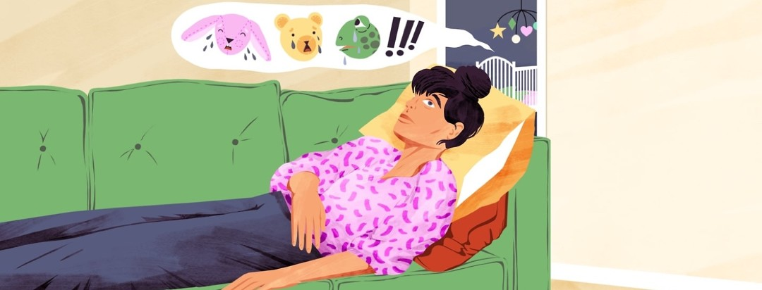 An exhausted-looking woman with insomnia lies on a couch while in the background, a baby's nursery emits a speech bubble full of the heads of crying stuffed animals