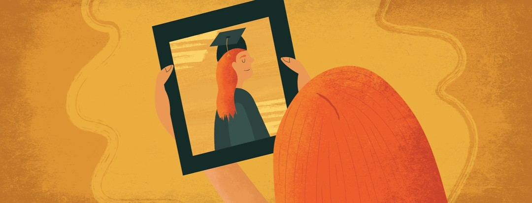 a woman with insomnia looking at a picture of her younger self graduating high school and feeling nostalgic and proud