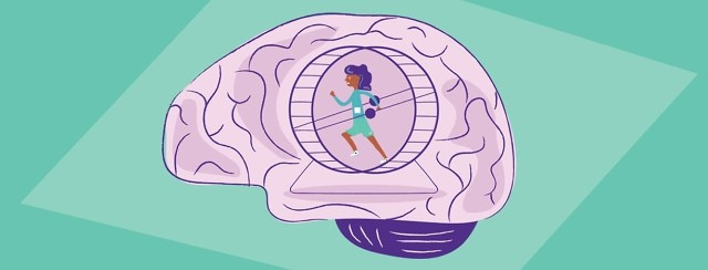 A woman with insomnia running on a hamster wheel in a brain
