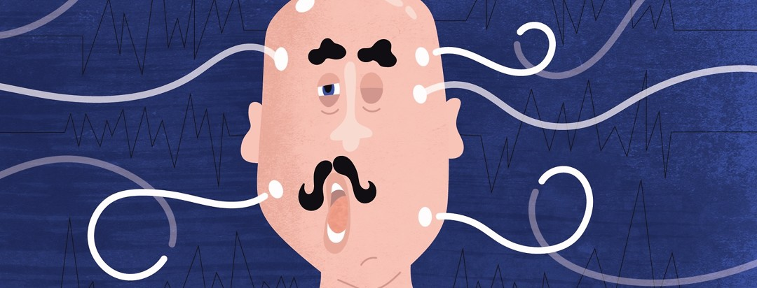 a man looking tired who is yawning and hooked up to sleep study wires that also look like question marks