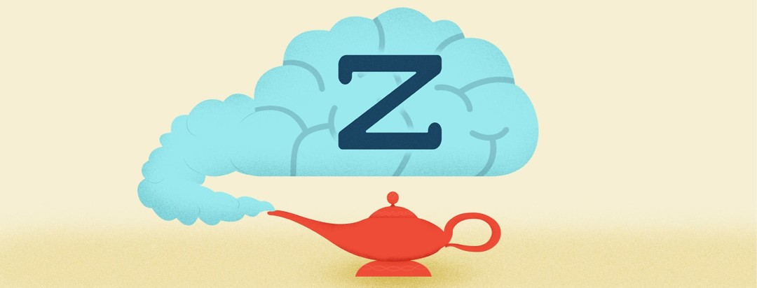 a brain coming out of a genie lamp with a z on it