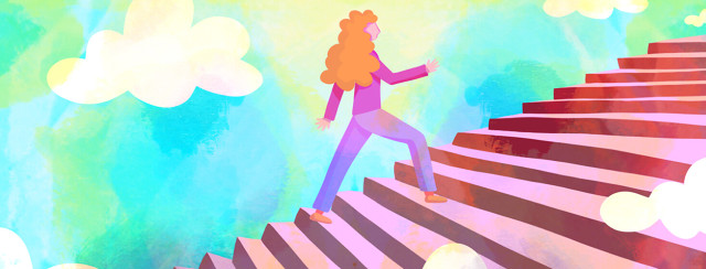 A woman confidently walking up a flight of stairs into a bright sunshine filled sky