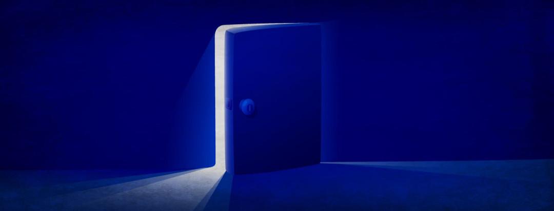 A door cracked open showing light
