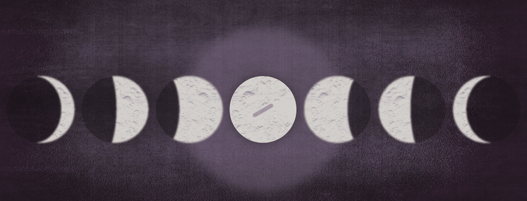 a moon in all of its phases where the full moon also looks like a pill