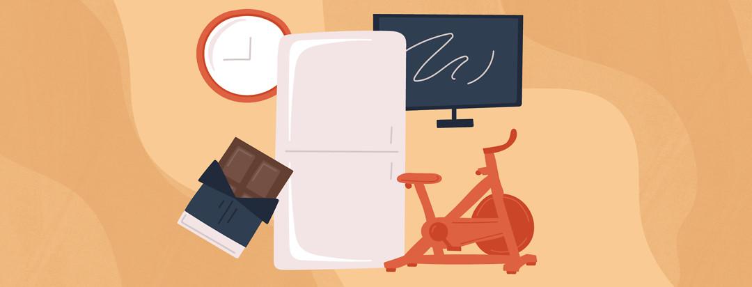a clock, a chocolate bar, a refrigerator, an exercise bike, and a TV