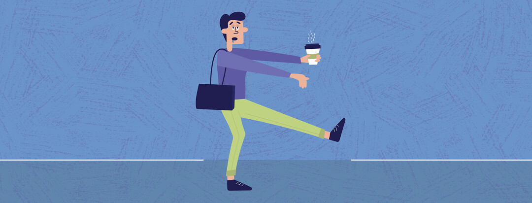 a person walking like a zombie and holding a cup of coffee