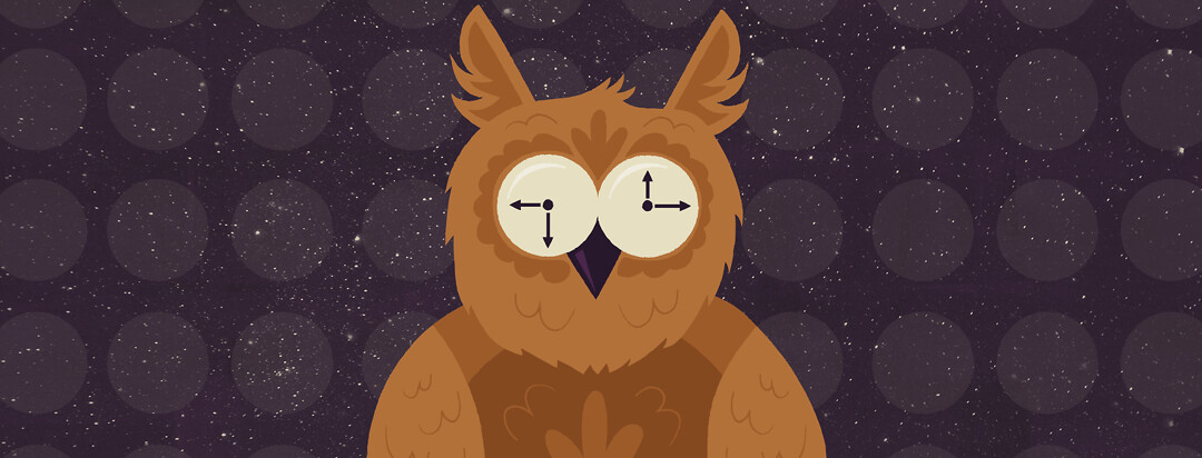 a owl with wide eyes that are also clocks