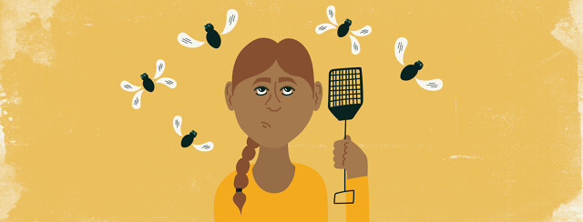 a woman holding a fly swatter and looking annoyed while flies with speech bubble shaped wings fly around her