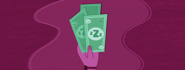 a hand holds three dollar bills which have sleep imagery on them such as Zs, moons, and stars
