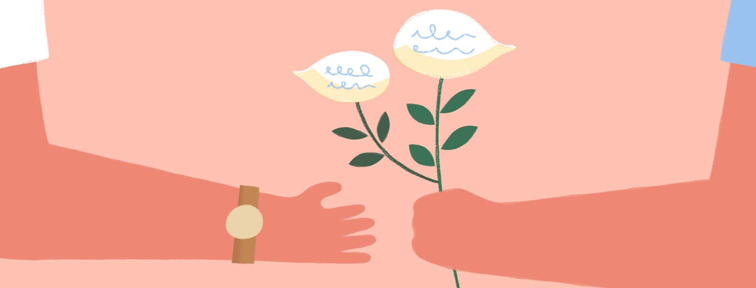 A hand offering white flowers shaped like speech bubbles to another outstretched hand