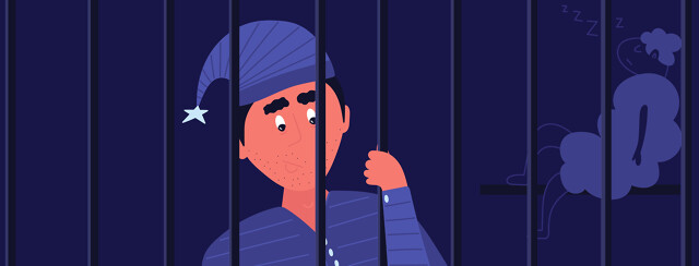 the sandman in pajamas behind bars while a sheep sleeps next to him in the jail cell