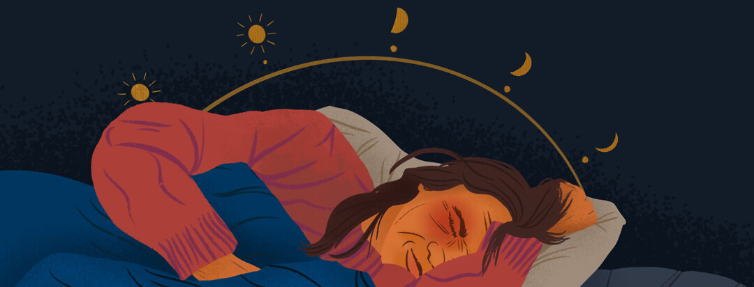 a woman laying in bed with a circadian rhythm circle behind her