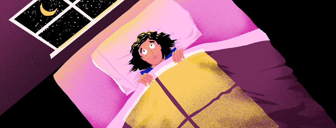 A worried, sweating woman lies in bed with the cover pulled up to her chin