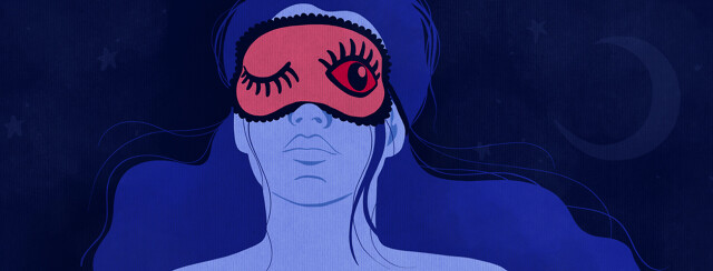 a woman lying in bed with an eye mask on that has one eye open and one shut
