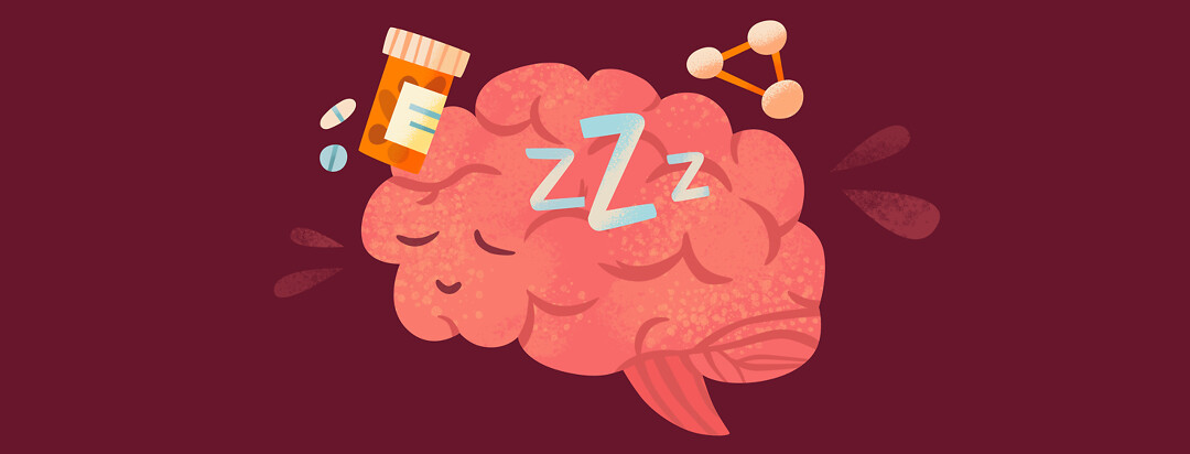 a happy, sleeping brain with Zs and medication around it