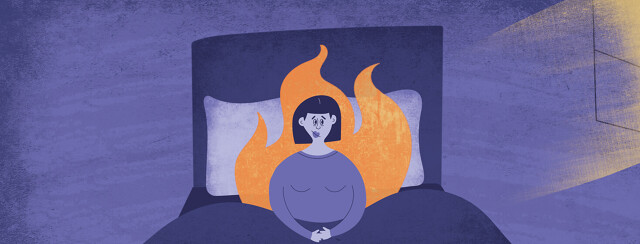 a woman sitting awake in bed surrounded by flames