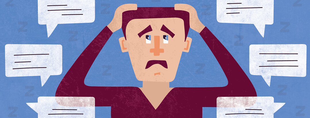a man looking frustrated with his hands on his head while he is surrounded by speech bubbles and Zs