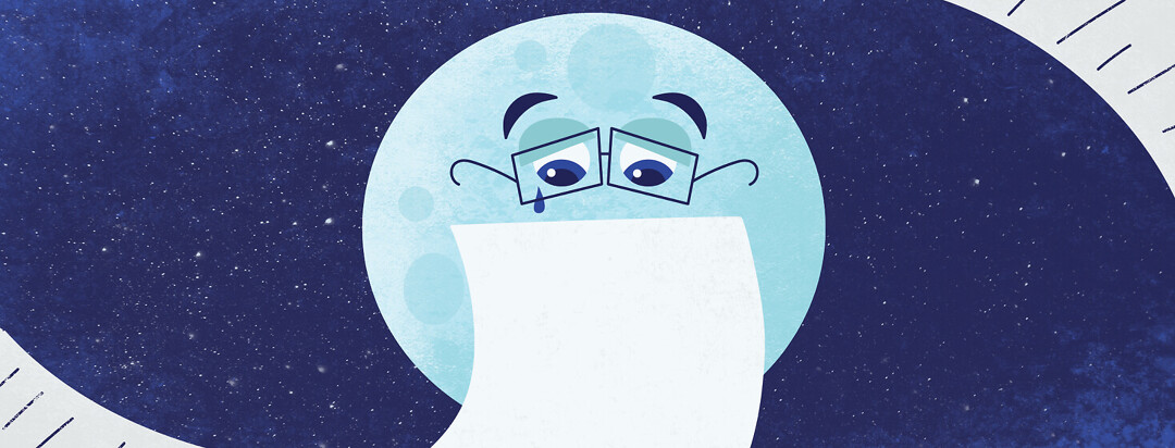 a moon reading a letter and crying