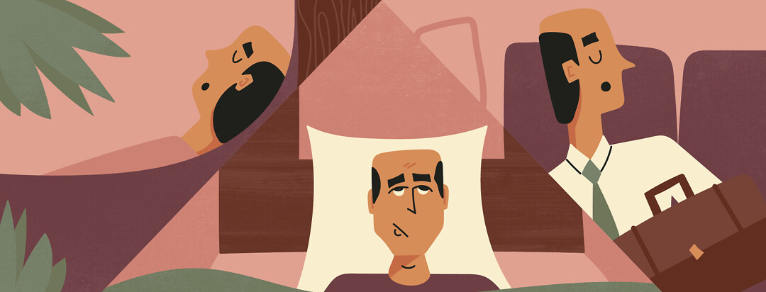 a man shown in three scenes one where he is sleeping in a hammock, one where he is sleeping on a train, and one where he is laying awake in his bed