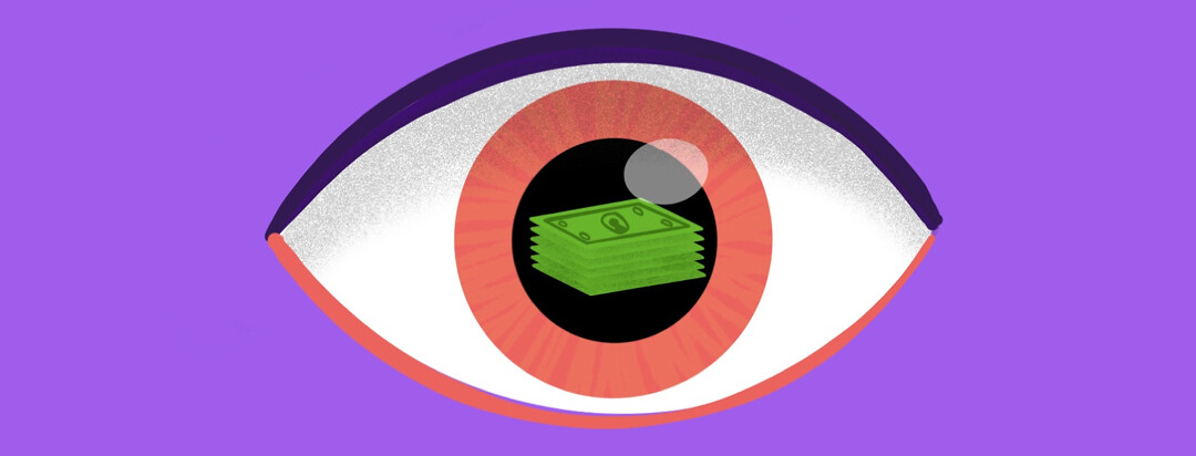 A floating eye with a stack of dollar bills reflecting in the pupil